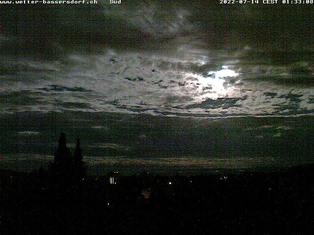 Webcam-Livebild in Richtung Süden aus Bassersdorf - Aktualisierung automatisch jede Minute - Klick auf das Bild, um das Bild manuell neu zu laden.